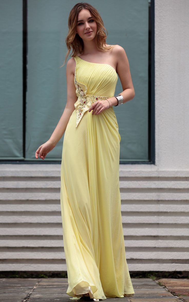 Sexy one shoulder  yellow long evening dress