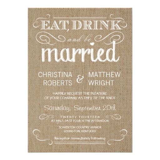 Burlap Rustic Country Wedding Invitations | Visit the Zazzle Site for More: http://www.zazzle.com/?rf=238228028496470081                                                                                                                                                      More