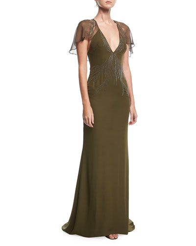 TWBP7 Haute Hippie Shaded Palm Plunging-Neck Cape-Sleeve Evening Gown