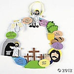 Cool Easter wreath for kids, tells story of Jesus' Passion week: Palm Sunday, Last Supper, Crucifixion, Resurrection and Ascension