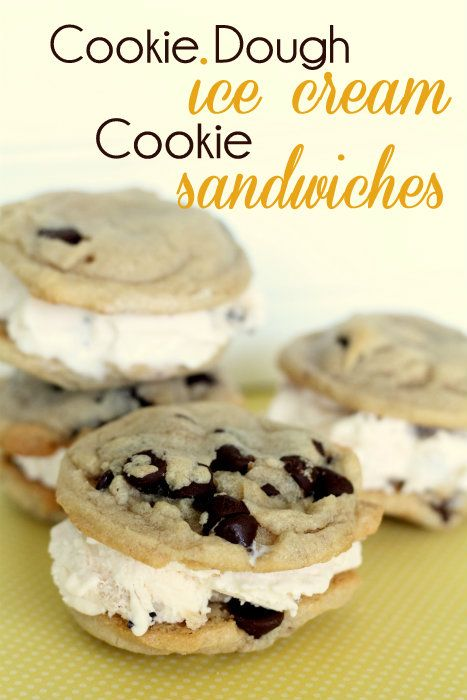 Chocolate Chip Cookie Dough Ice Cream Cookie Sandwiches - So easy and yummy!: Cream Cookies, Cookies Dough, Chocolate Chips, Chocolates Chips, Chips Cookies, Ice Cream Sandwiches, Dough Ice, Cookies Sandwiches, Gluten Free Cookies