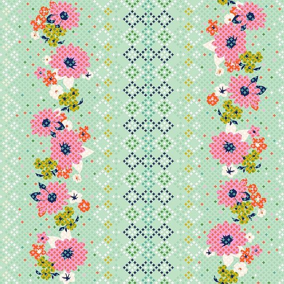 Rose Border Print cotton fabric from the Mustang collection by Melody Miller for Cotton + Steel