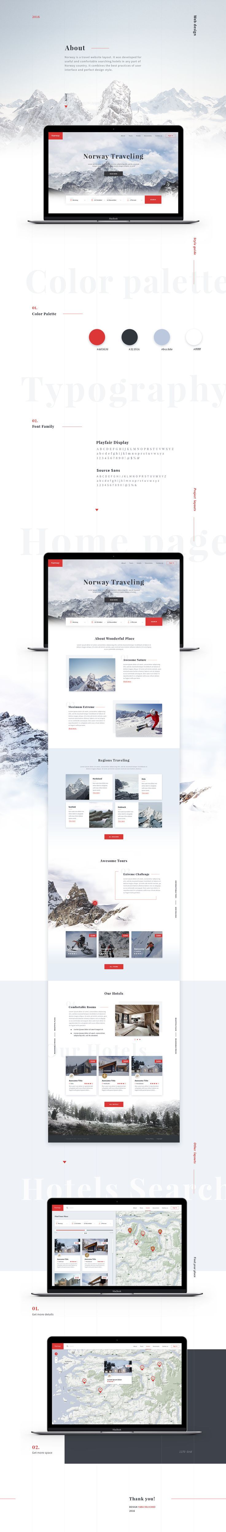 Norway is a travel website layout. It was developed for useful and comfortable searching hotels in any part of Norway country. It combines the best practices of user interface and perfect design style.