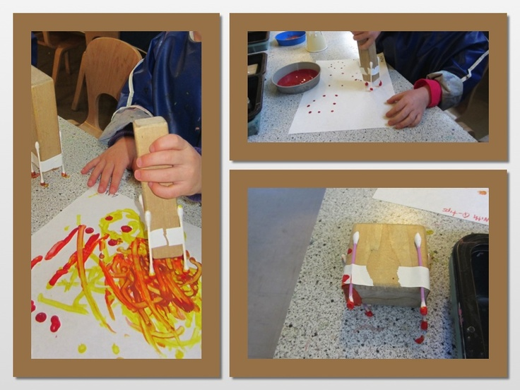 q-tip painting. the class had a blast!