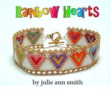 SKINNY MINI SERIES Rainbow Hearts Bracelet Beading Pattern - Item Number 18880 at Bead-Patterns.com