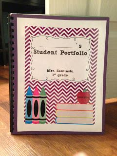 First Grade Teacher Lady: EASY Student Portfolio- literally buy them at staples and add labels!