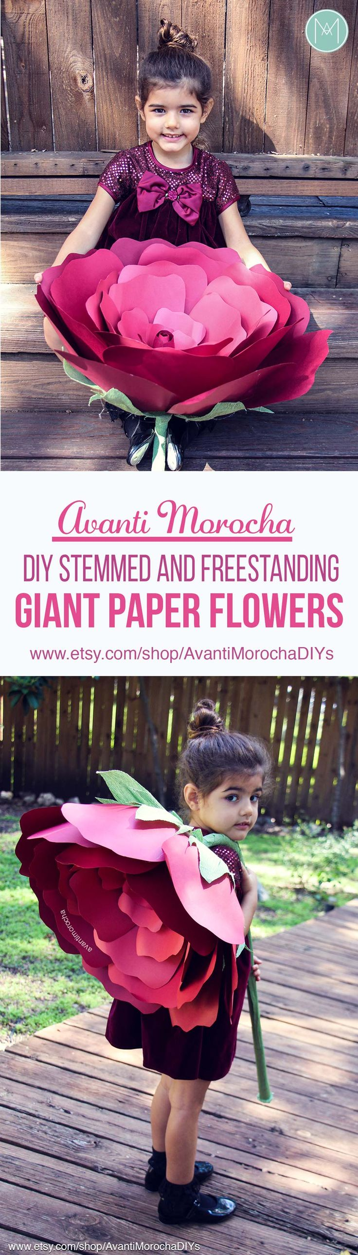 DIY Stemmed and Freestanding Giant Paper flowers - Patterns and tutorials available on my Etsy shop. Wedding decor / wedding bouquet / Flower girl