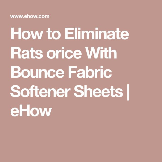 How to Eliminate Rats orice With Bounce Fabric Softener Sheets | eHow