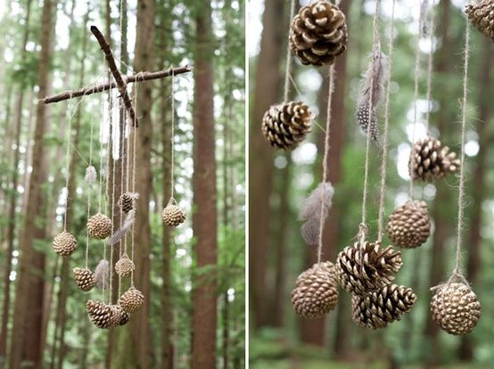 Whimsical Forest Wedding Inspiration - love the pine cone mobile...great for baby shower