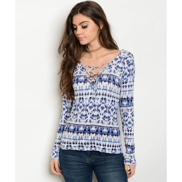 Women's Blue Lace Up Blouse