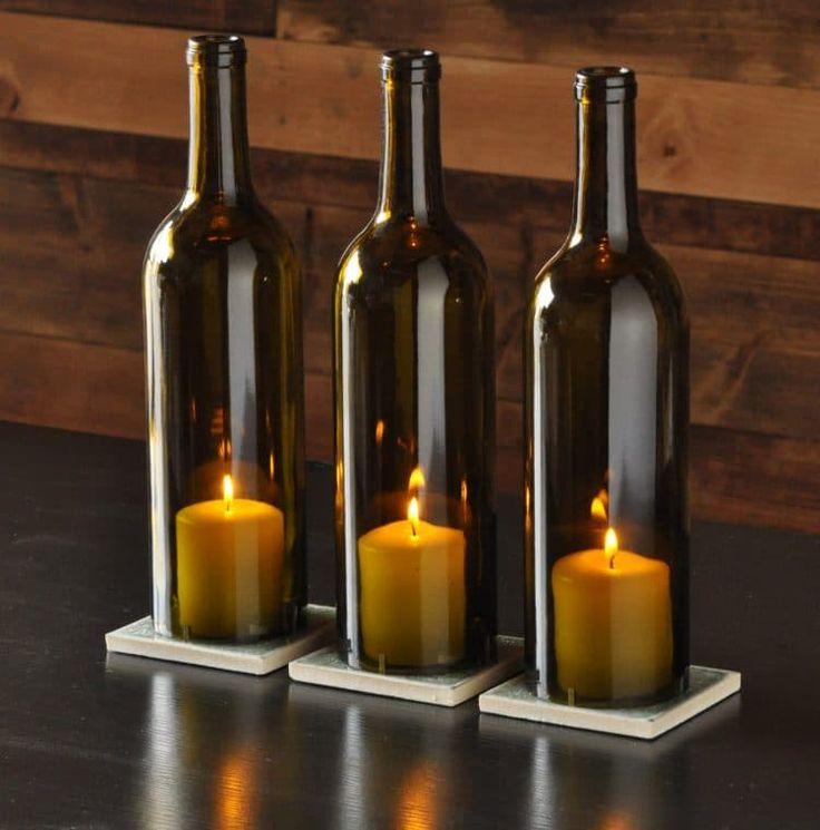 Facile Crafts lampada da tavolo per il Natale: Candela in una bottiglia di vino Lampade da tavolo