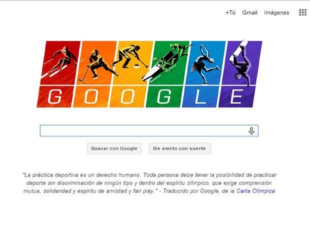 Debajo del doodle resalta un fragmento de la Carta Olímpica, documento que enlista las reglas para la organización de los Juegos Olímpicos, ...