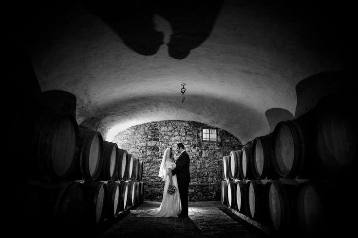 Wines and wedding - photo in the Castello di Meleto cellar