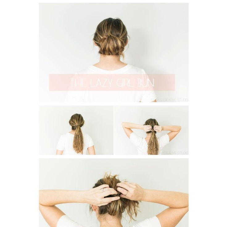 The lazy girl bun - fast, easy hairstyle from www.thinkelysian.com :) #messybun #easyhairstyle #hairstyle