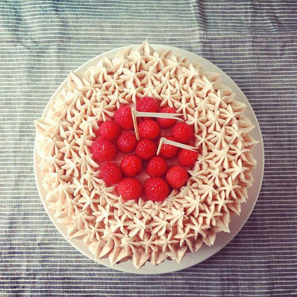 my grandma's 91st birthday cake. #raspberrycake #cococakeland