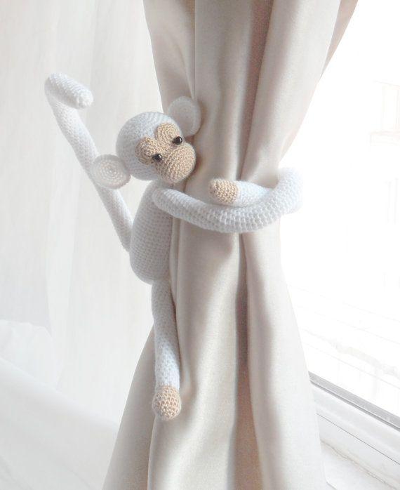 SOoo Cute! Monkey curtain tie back1 PCS Shabby chic by LamoreBoutique on Etsy