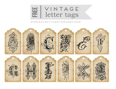 Free Printable Vintage Letter Tags Collage Sheets-