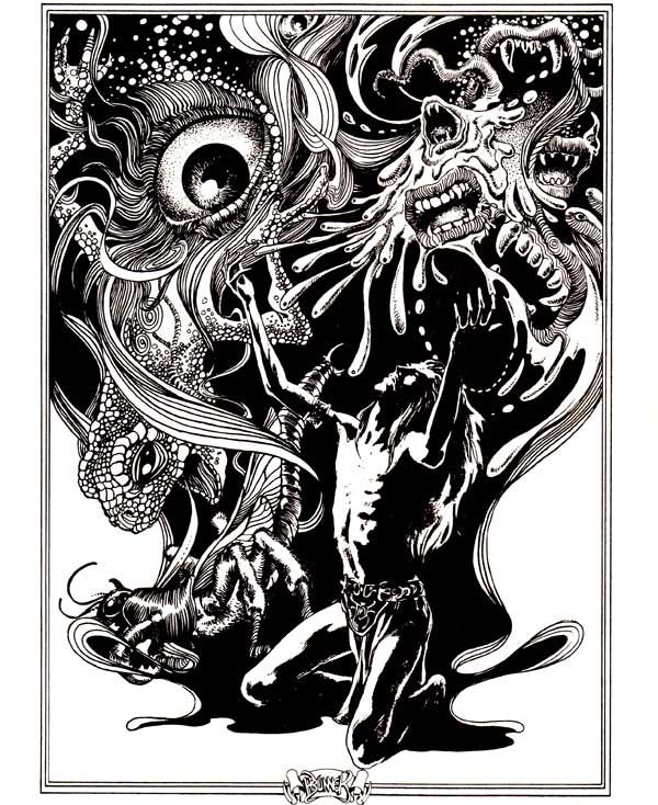 Summoning the Duke of Chaos.  (Frank Brunner from Stormbringer, Fantasy Role-Playing in the Young Kingdoms, Chaosium, 1981.)