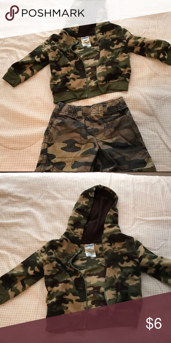 Baby boy jacket and shorts Camo boys long sleeve fuzzy jacket and camo cotton shorts both size 12 months. carters Jackets & Coats #babyboyjackets