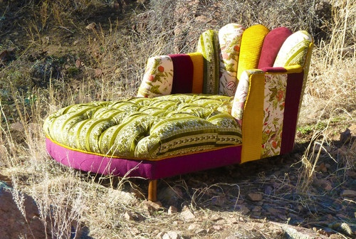 Vintage Patchwork Channel Tufted Chaise Lounge - eclectic - chairs - denver - Vintage Renewal