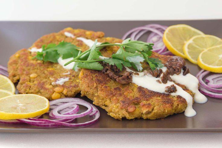 A vegan okara recipe using chana dal and vital wheat gluten to make a savoury patty.