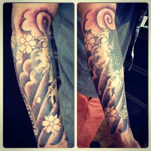 #fish #fishtattoo #arm #armtattoo #wave #wavetattoo #clouds #cloudstattoo #blossom #blossomtattoo #flower #flowertattoo #japanese #japanesetattoo #tattoo #tattoos #ink #jongu #tattooist #auckland #forevertattoos IG: @jongutattoo