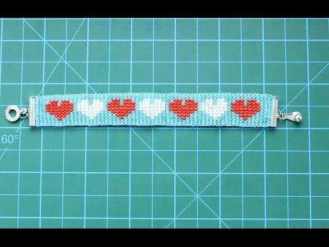 ▶ Браслет с сердечками на станке для бисероплетения    Красивый браслет ко дню Святого Валентина - YouTube