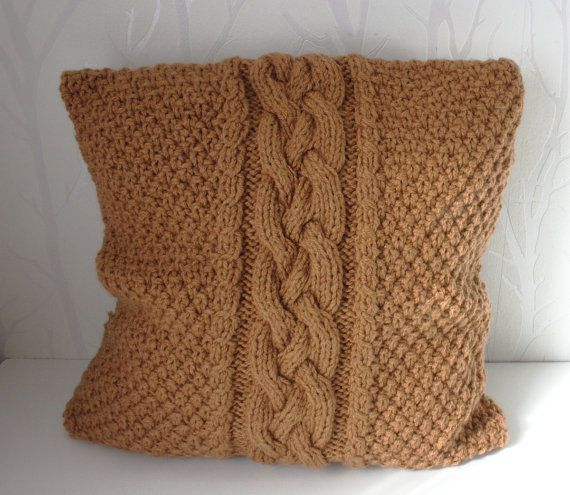 Knit cable pillow cover sweater pillow Knitted pillow by CreamKnit