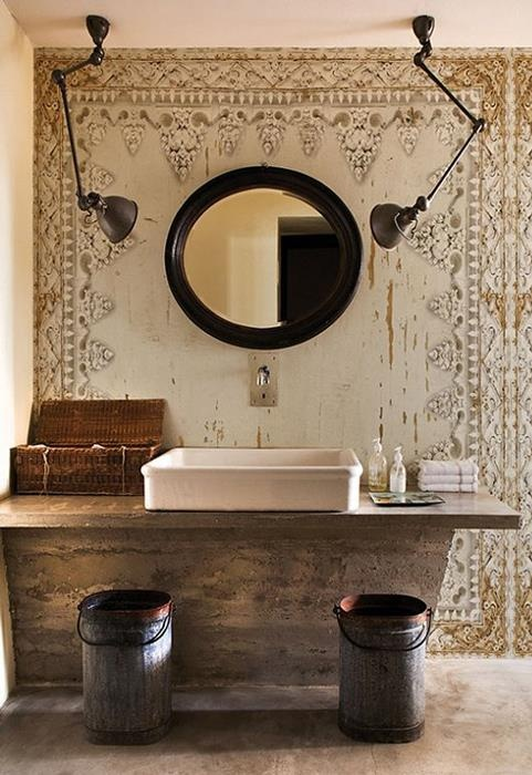 Modern Mirror In Combination With Old Wall Design Idea Decor Inspiration Find This Pin And More On Rustic Chic Bathrooms