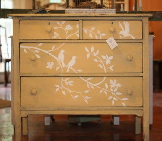 Cool stencil painted on old furniture dresser