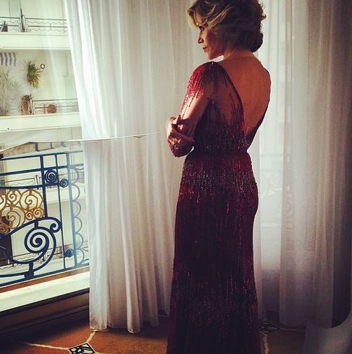 Behind The Scenes Jane Fonda In Elie Saab Couture Captured By Stylist Michael Angel