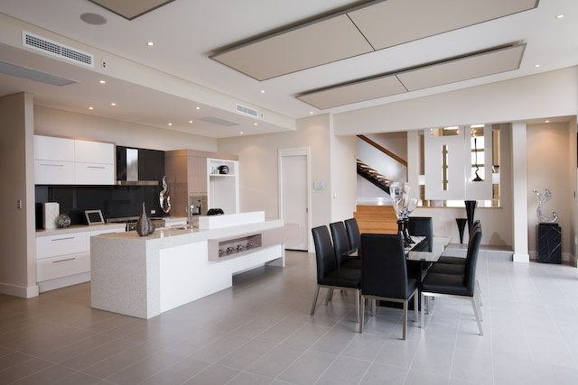 Big, open plan kitchen and meals area
