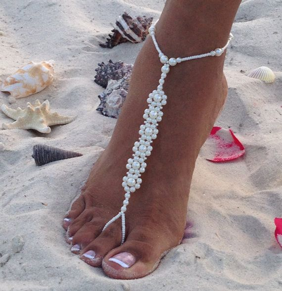 Perle barfuss Sandalen Bridal barfuss von TheBridalBOWtique auf Etsy