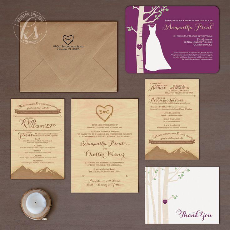 Stratton, VT Wedding / Invitation Design // Bridal Shower Invitation, Formal Wedding Invitation, Reply Card, Info Card & Thank You Card // Rustic VT Tree Theme Wedding | Kristen Spector Design