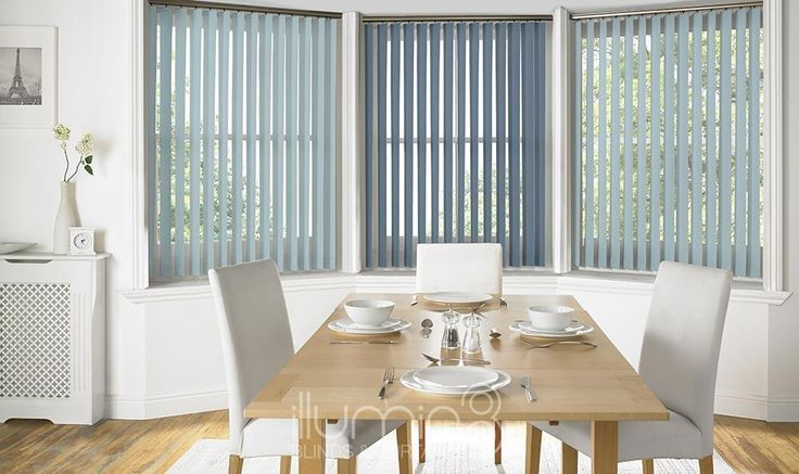 These blue (Porto-Vertical) Vertical blinds are available in different forms including: wood, lace, aluminium, rigid and fabric. Probably the most practical blind type can be used on curved and sloping windows. Vertical blinds offer precise control of sun and light. They can be machine washable and are very versatile. Whether it's classical, modern, comfort or cutting edge design you want, the choice is yours at Illumin8 Blinds.