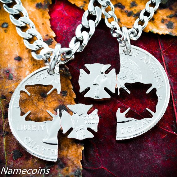 Firefighter and Wife Necklace set interlocking by NameCoins, $39.99