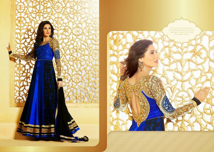 $86.00 This Appealing Black & Blue Faux Georgette,Satin Salwar Kameez. This Engaging Attire Is Showing Some Superb Embroidery Done With Butta  http://www.sareeonline.com/proj/gallery/fullview.aspx?scode=brk090