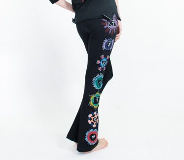Gorgeous pair of bootleg yoga pants with hand painted flair.Each vibrant chakra has delicately been painted with exquisite detail.Amazing comfort and beauty