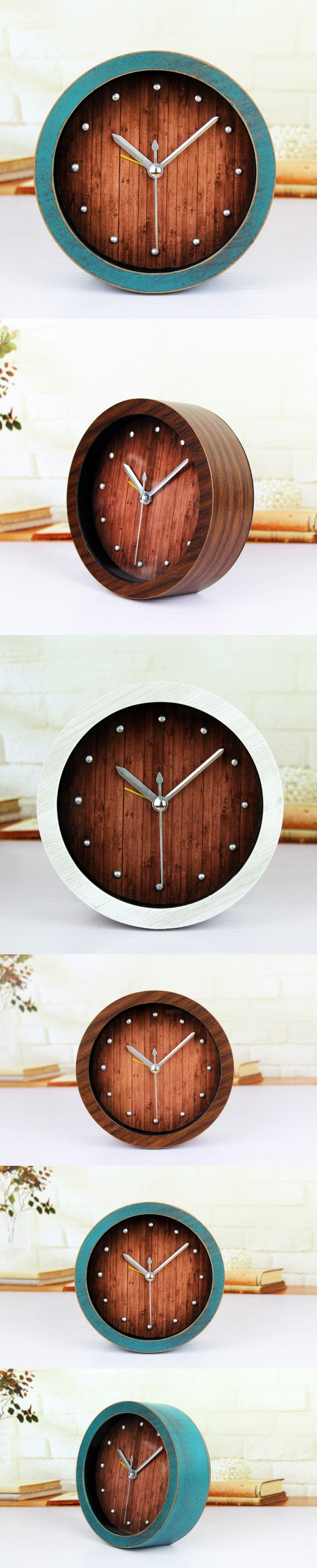 Original minimalist retro 3D stereo metal rivets wood alarm clock,creative desktop clocks,high-grade do the old home decoration $28