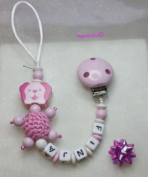 Schnullerkette Häkelperle Hund Name Baby md349 von myduttel auf DaWanda.com