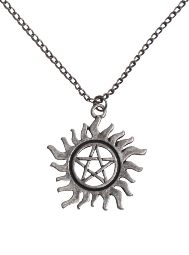 Necklace from Supernatural with an anti-possession symbol pendant.