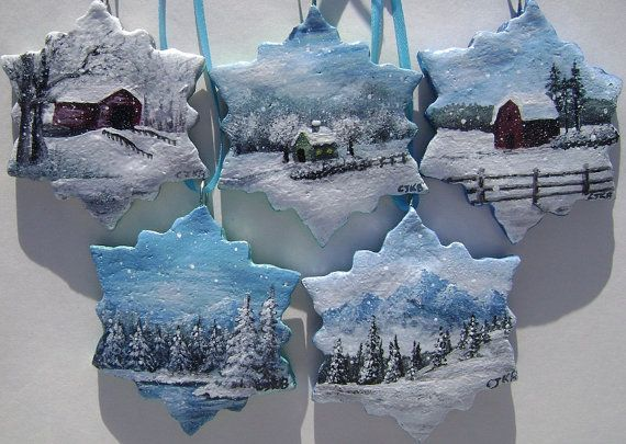 Delicate Snowfall – Hand Painted Salt Dough Christmas Ornaments x 5