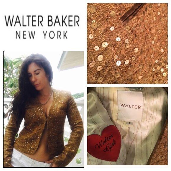 Walter Baker jacket size 2 small Beautiful gold sequin jacket size 2 Walter Baker great condition Walter Baker Jackets & Coats Blazers