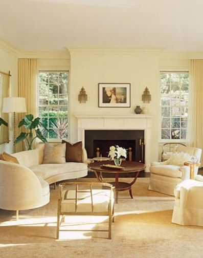 Decoration Pale Yellow Paint Colors Wall Good Large Square Shaped Fireplace Nice Table Color Soft Sofa Picture Frame Window