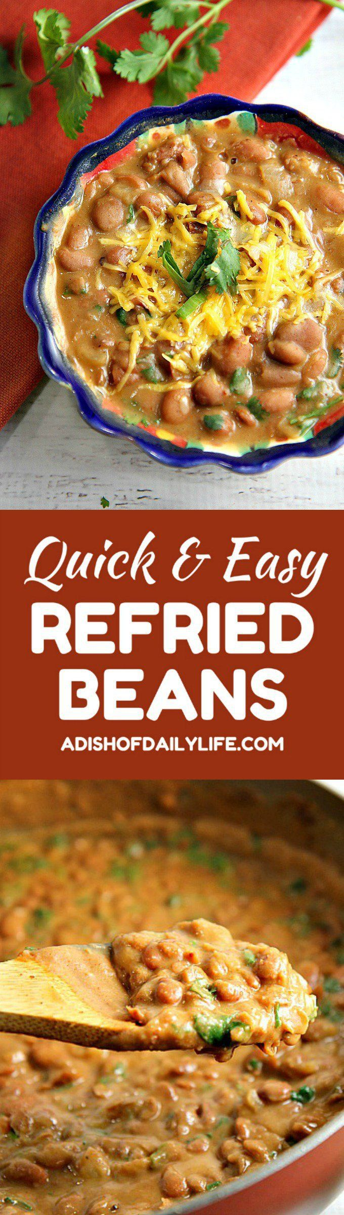 You'll never eat refried beans from a can again after trying this easy homemade refried beans recipe! They only take 15 minutes to make, and they're so versatile...use them as a side dish, as a base for burritos, or in layered bean dip or loaded nachos as well! Mexican | Cinco de Mayo | side dish | Beans