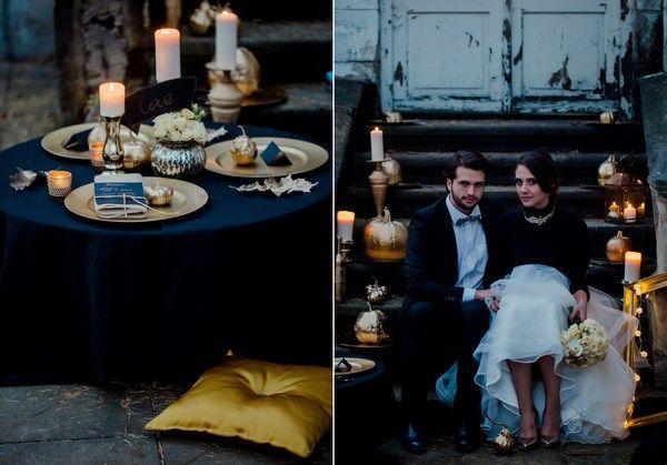 złote dekoracje i dodatki na ślub i wesele, jesienna sesja ślubna z motywem złota