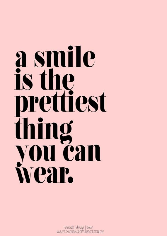 A Smile Is The Prettiest Thing You Can Wear - A3 - 16.5 x 11.7 in - Inspirational Quote / Print / Art
