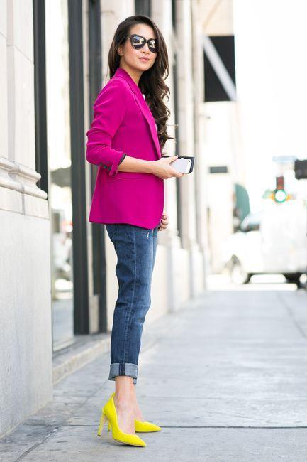 Color Splash :: Magenta blazer & Neon pumps (via Bloglovin.com )