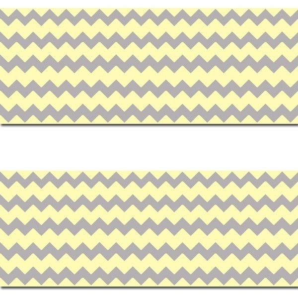 Yellow Grey Gray Chevron Wallpaper Border Wall Art Decals Baby Neutral Nursery Sticker or any Home Room Decor  #decampstudios