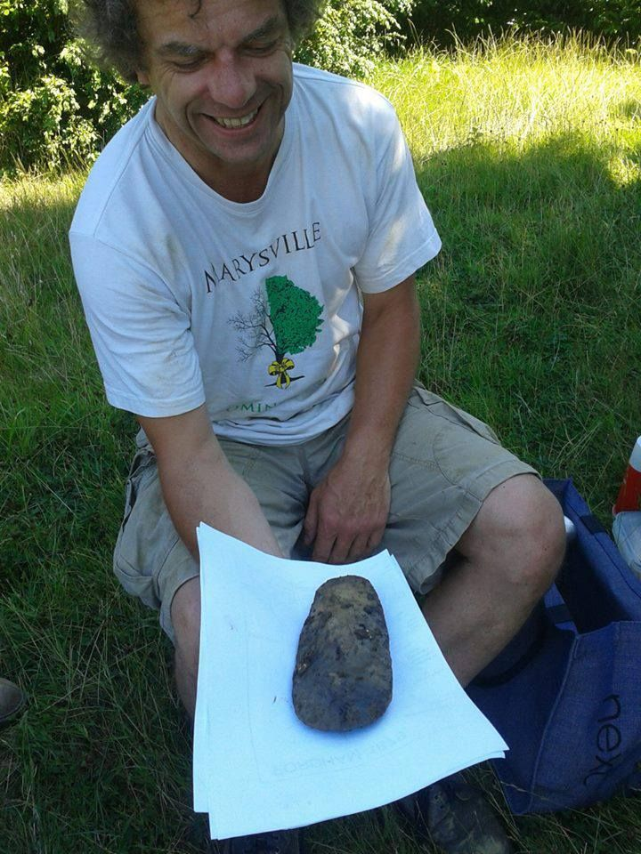 Neolithic stone axe found at Marks Hall excavation, Essex. by Keith Dixon
